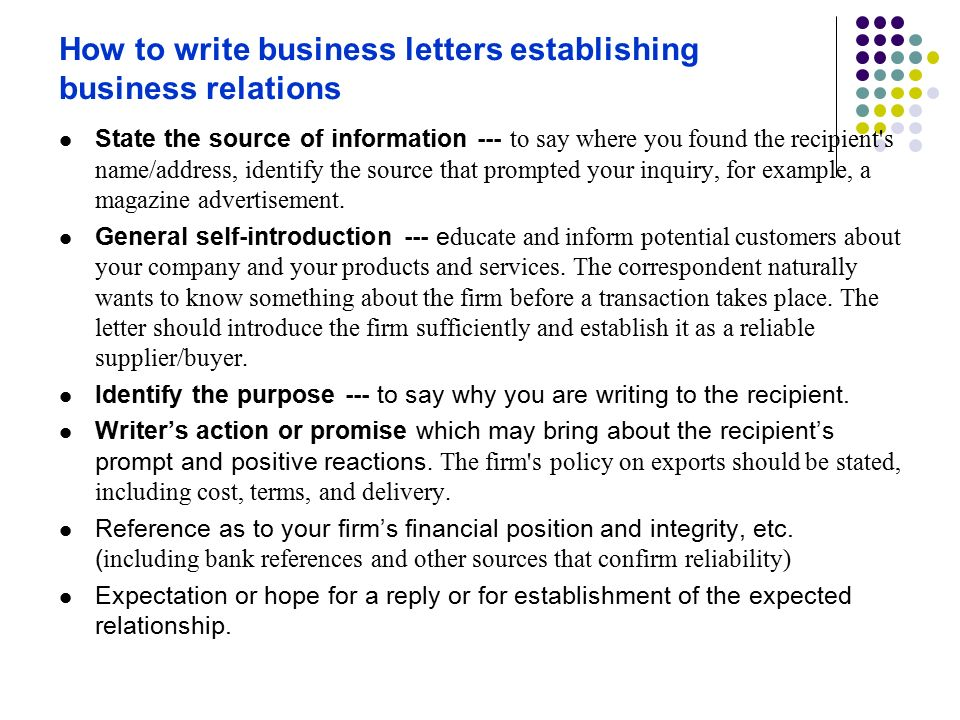 how to write business letters establishing business relations