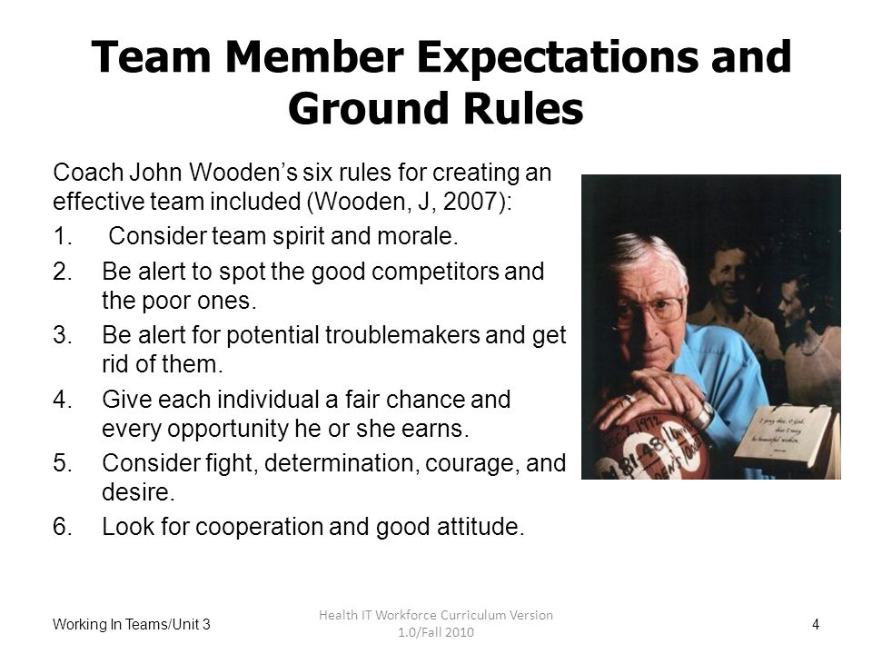 Initial Tools For Teaming Ground Rules And Action Plans For Hit