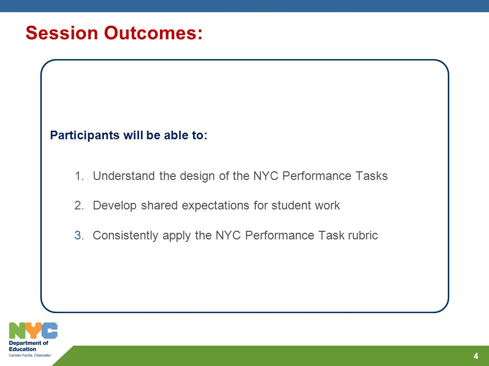 Professional Learning: NYC Performance Task Norming Workshop - ppt ...
