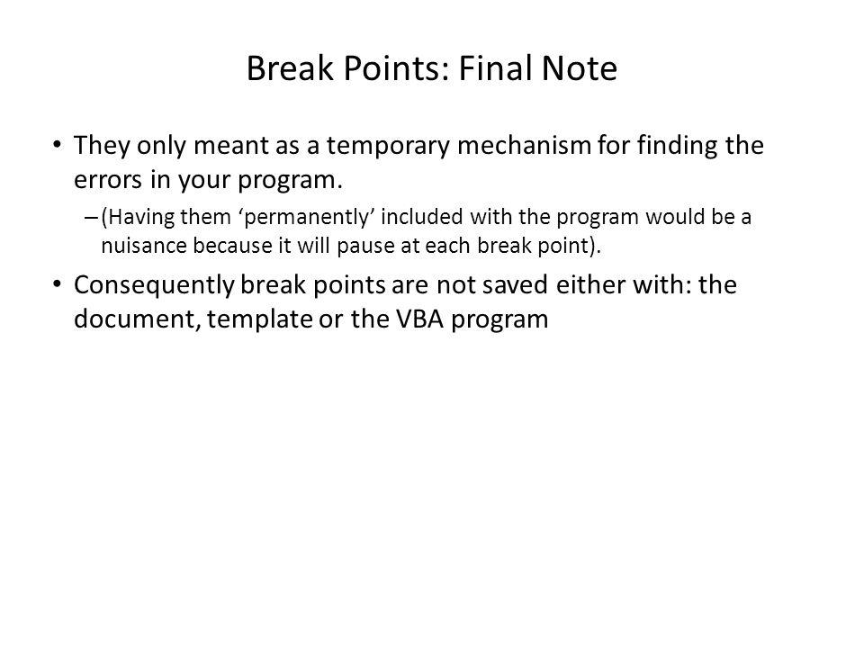 Introduction to vba visual basic for applications programming 98 break toneelgroepblik Choice Image