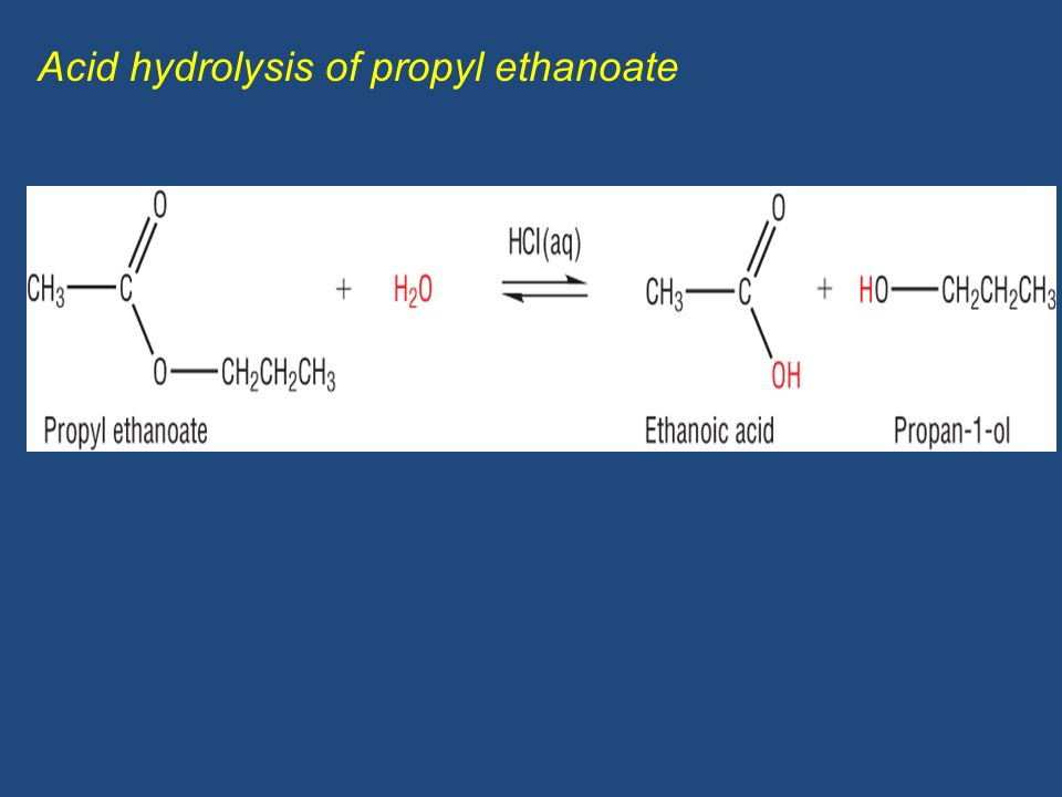Formation of the ester ethyl propanoate from a carboxylic