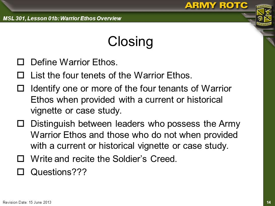 the warrior ethos summary