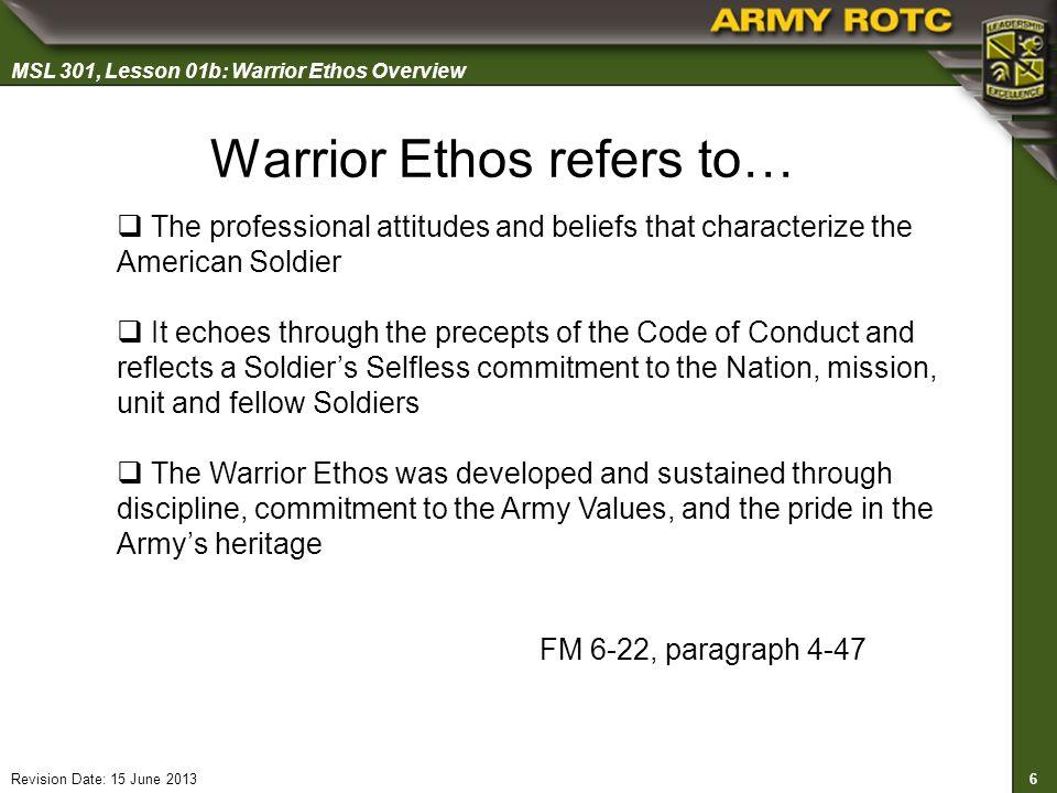 the warrior ethos summary