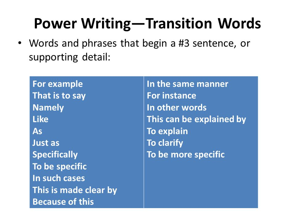 power writingtransition words
