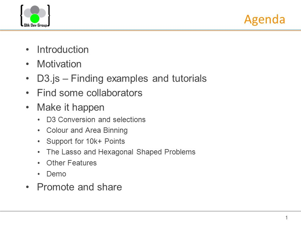 Agenda Introduction Motivation D3 js – Finding examples and