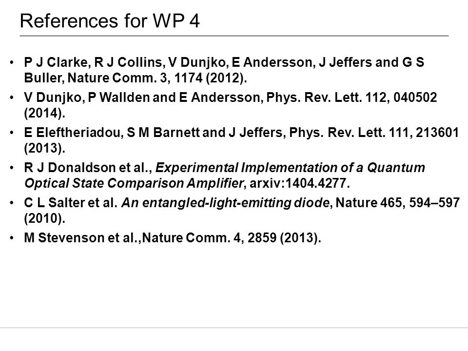 References for WP 4 P J Clarke, R J Collins, V Dunjko, E Andersson, J Jeffers and G S Buller, Nature Comm. 3, 1174 (2012).