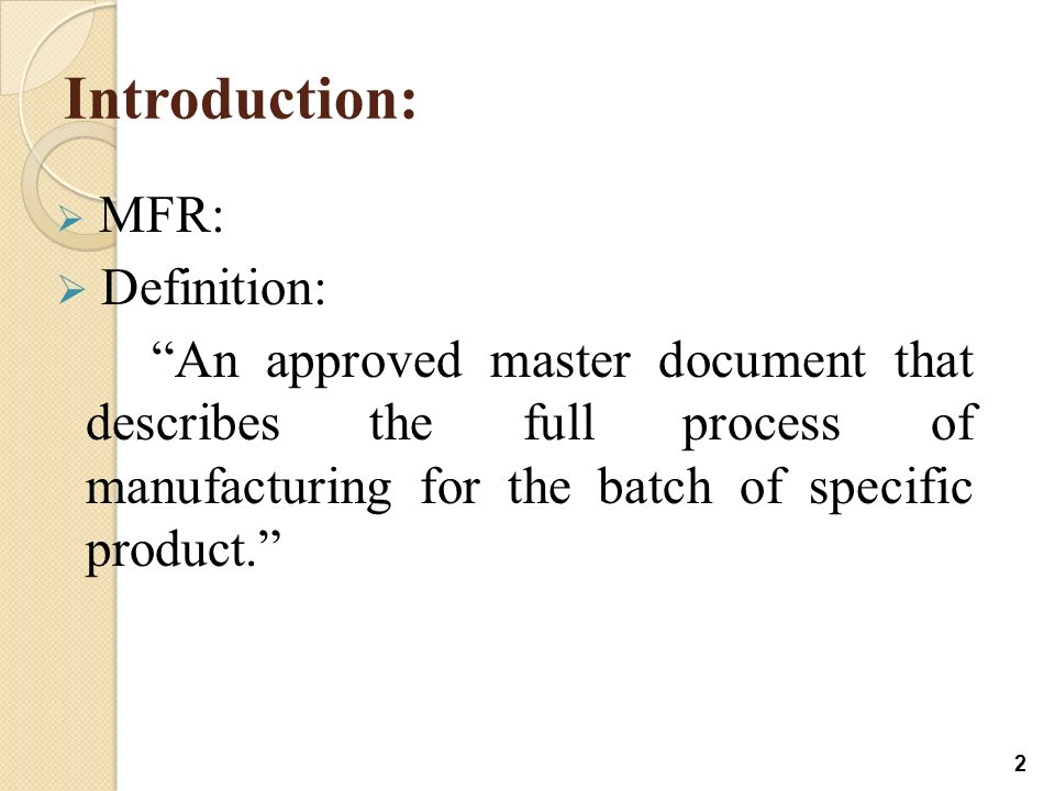 Master Formula And Batch MaNUFACTURING Record - ppt video