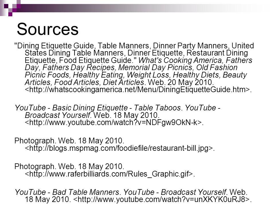 12 Sources Dining Etiquette Guide Table