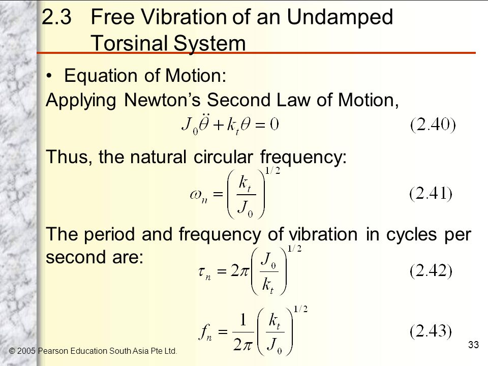 Chapter 2 Free Vibration Of Single Degree Of Freedom