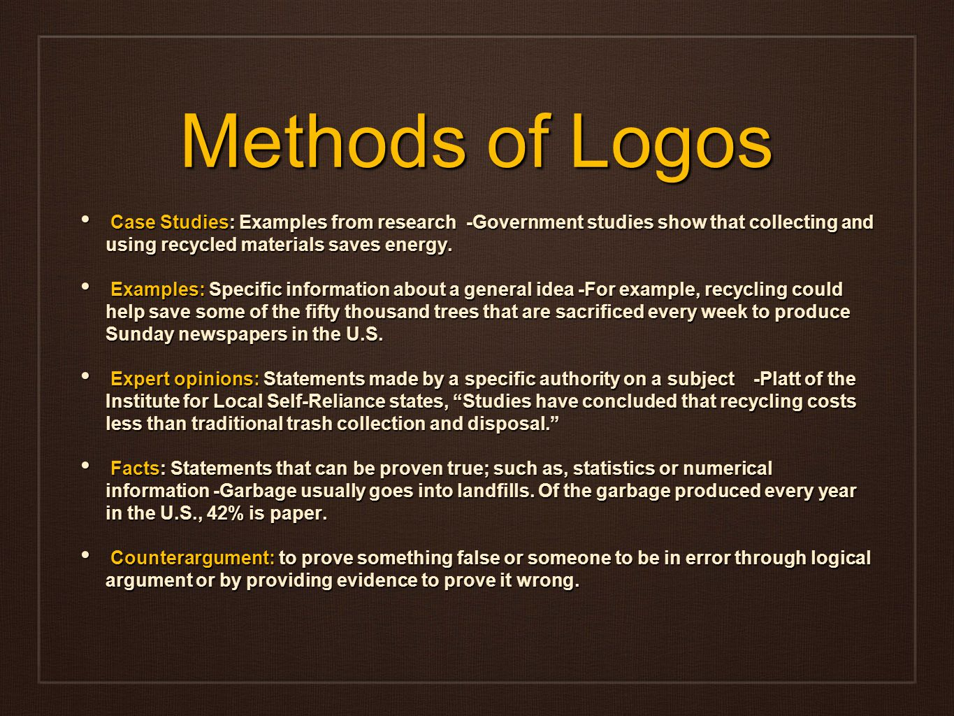 Logos argument example
