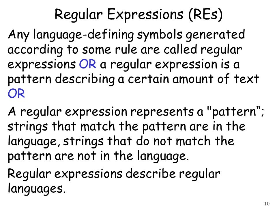Regular Expressions (REs)