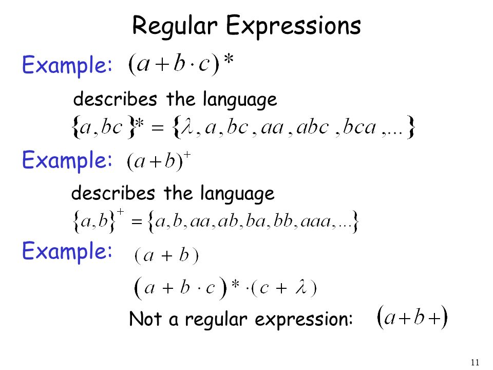 Regular Expressions Example: describes the language