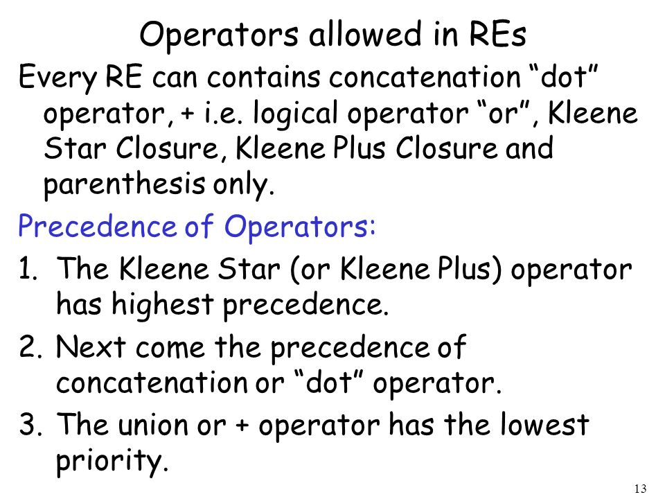 Operators allowed in REs