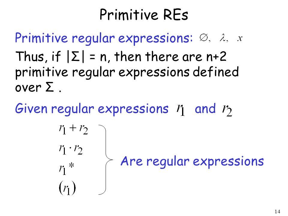 Primitive REs Primitive regular expressions: