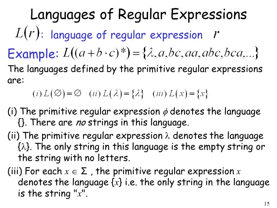 Languages of Regular Expressions