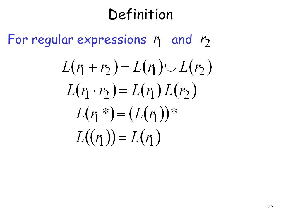 Definition For regular expressions and