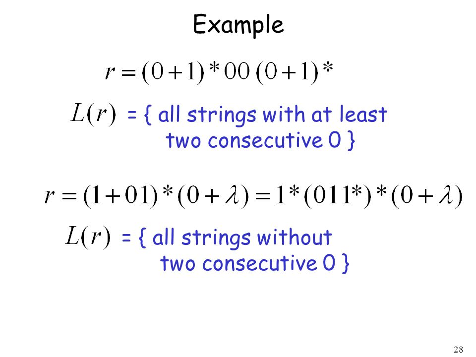 Example = { all strings with at least two consecutive 0 }