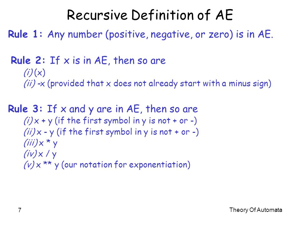 Recursive Definition of AE