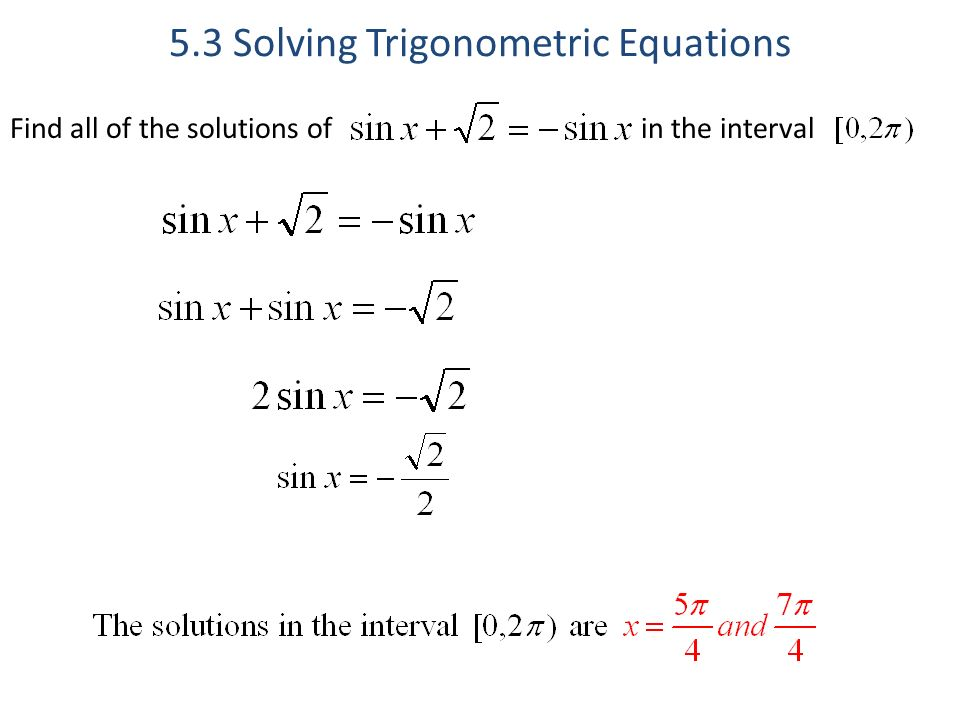 5 3 Solving Trigonometric Equations - ppt download