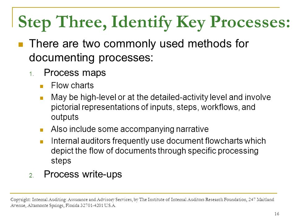 Business processes and risks ppt download step three identify key processes 17 exhibit 5 4 copyright internal auditing assurance and advisory services fandeluxe Image collections