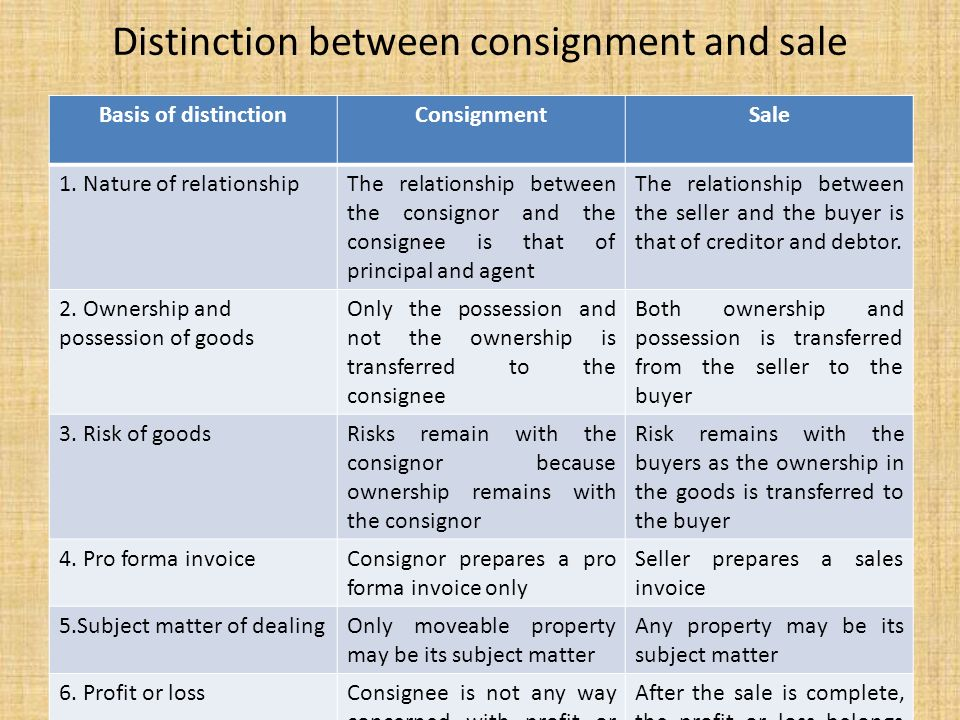 info for 8a60c b953d Distinction between consignment and sale
