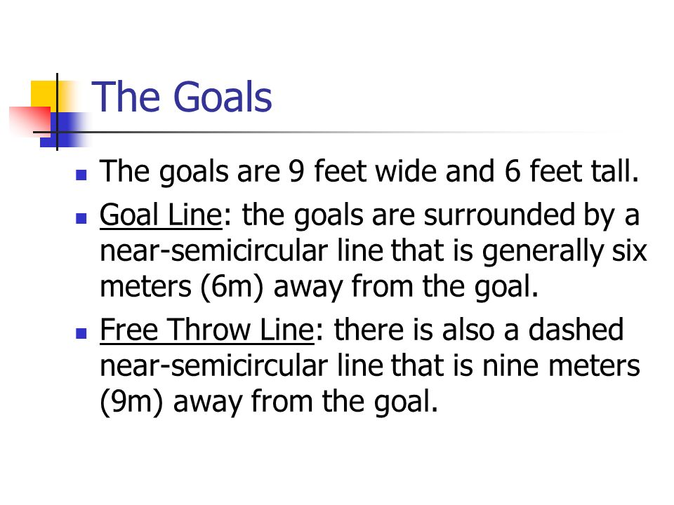 The Goals The goals are 9 feet wide and 6 feet tall.
