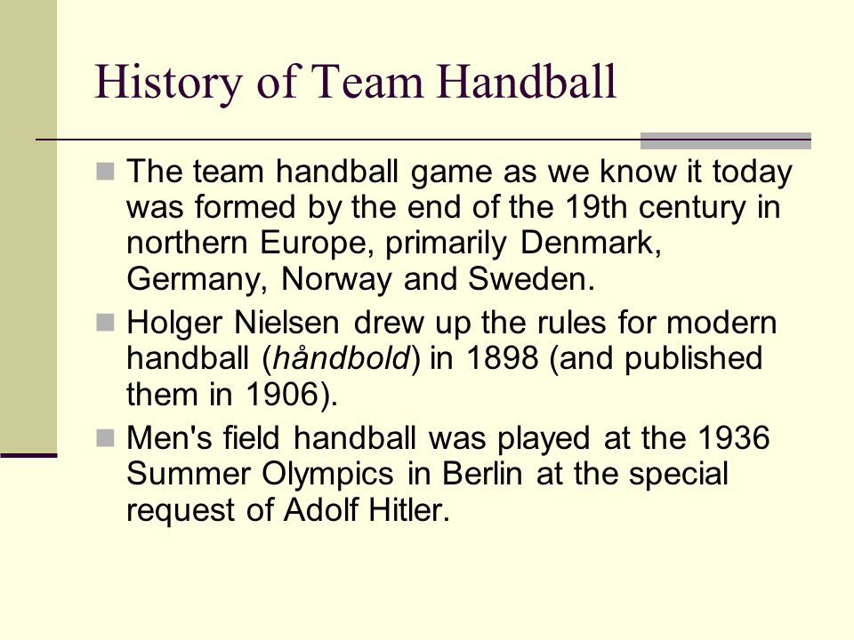 History of Team Handball