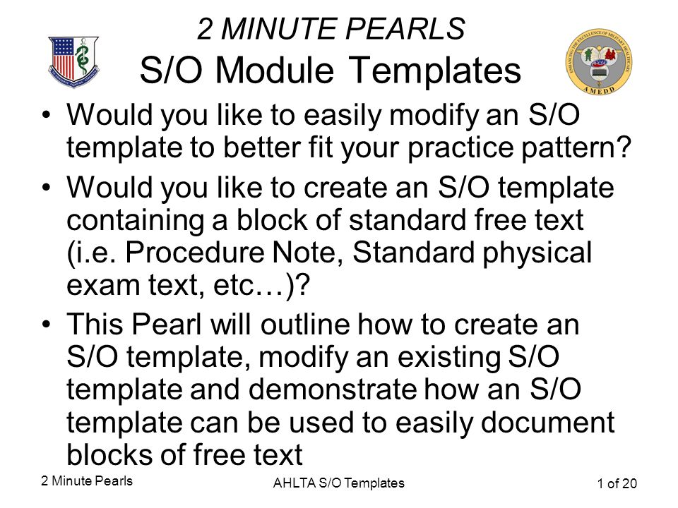 2 MINUTE PEARLS S/O Module Templates - ppt download