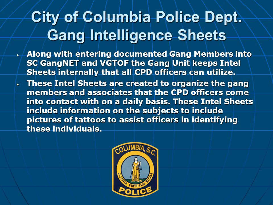 City of Columbia Police Dept. Gang Intelligence Sheets