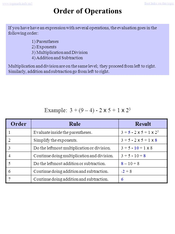 Order of Operations Example: 3 + (9 – 4) - 2 x 5 + 1 x 23 Order Rule