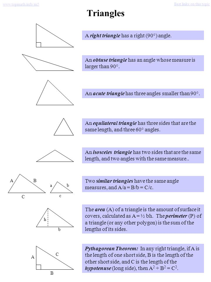 Triangles A right triangle has a right (90°) angle.