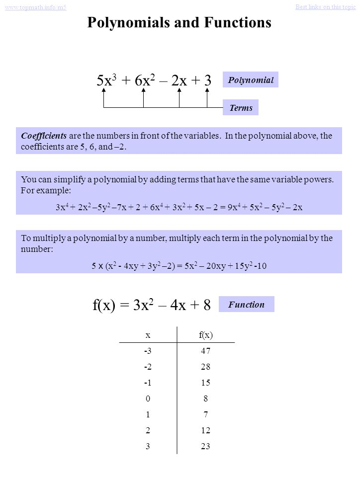 Polynomials and Functions