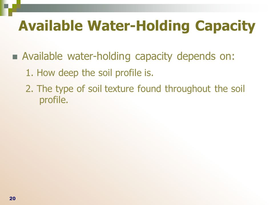 eca989f0509 ... throughout the soil profile. Available Water-Holding Capacity