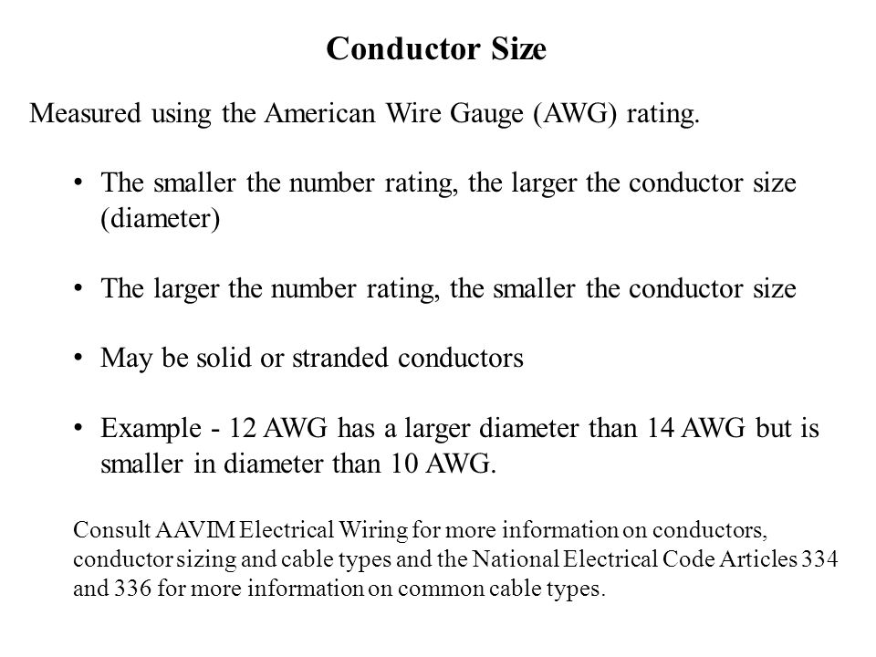 Ag mechanics for beginning teachers ppt video online download conductor size measured using the american wire gauge awg rating greentooth Choice Image