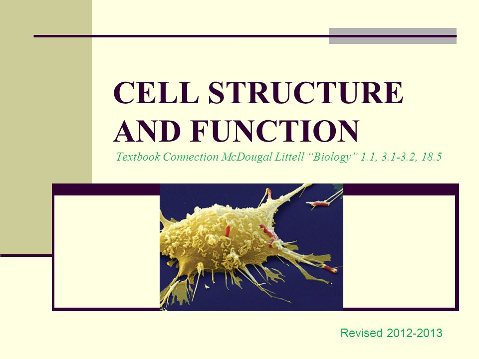 """CELL STRUCTURE AND FUNCTION Textbook Connection McDougal Littell """"Biology""""  1 1, 3 1-3 2, 18 5 Revised 2012-2013"""