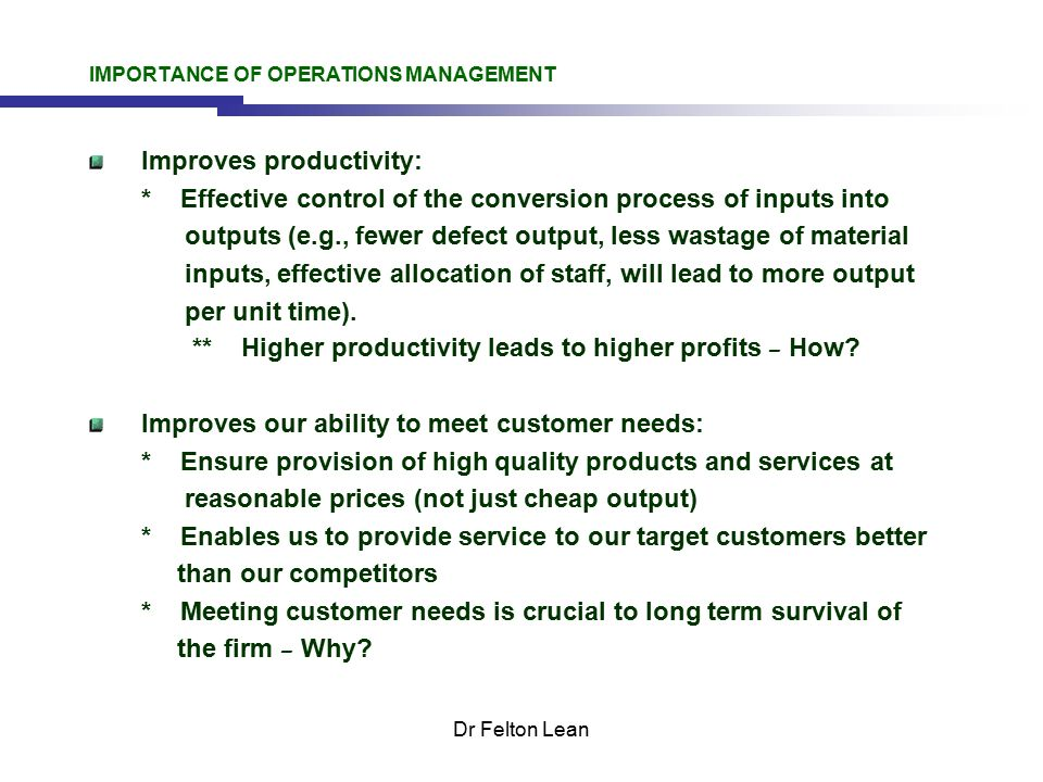 Operations Management - ppt download