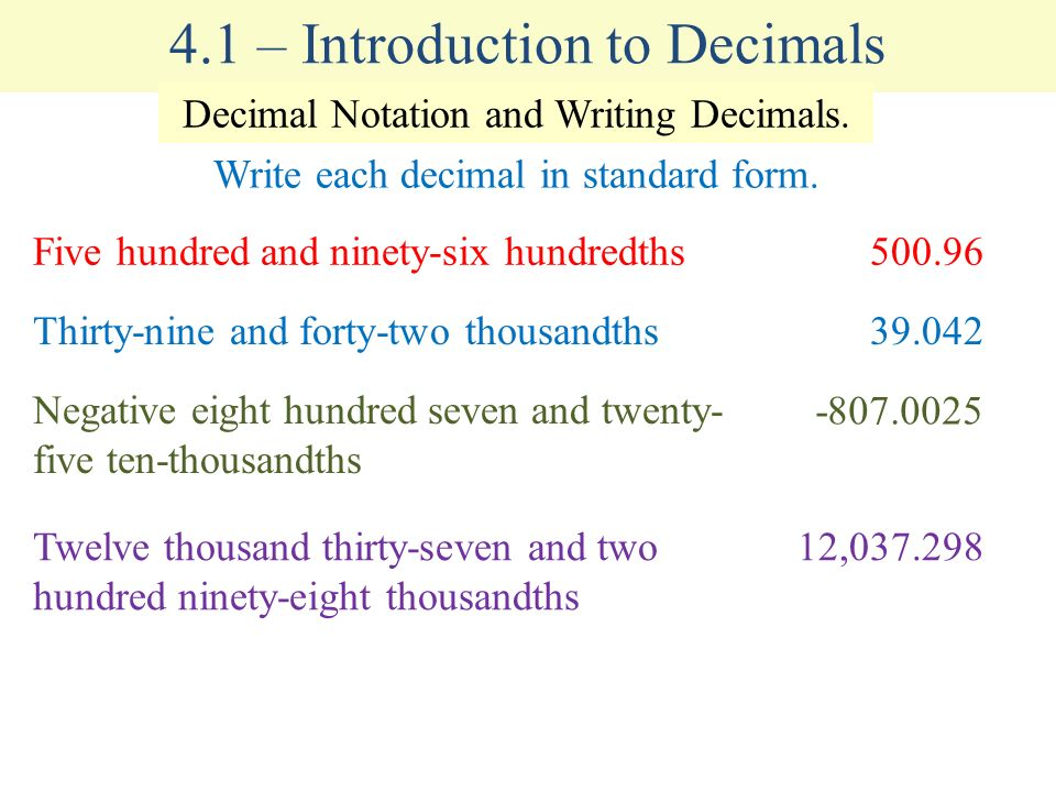 41 Introduction To Decimals Ppt Video Online Download
