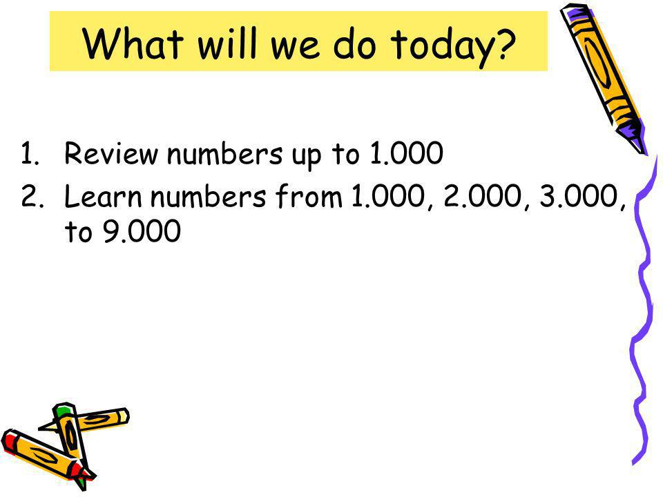What will we do today Review numbers up to 1.000