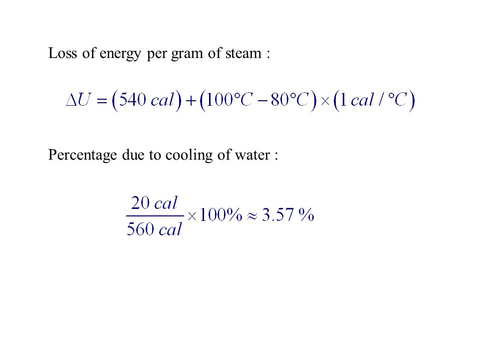 Loss of energy per gram of steam :