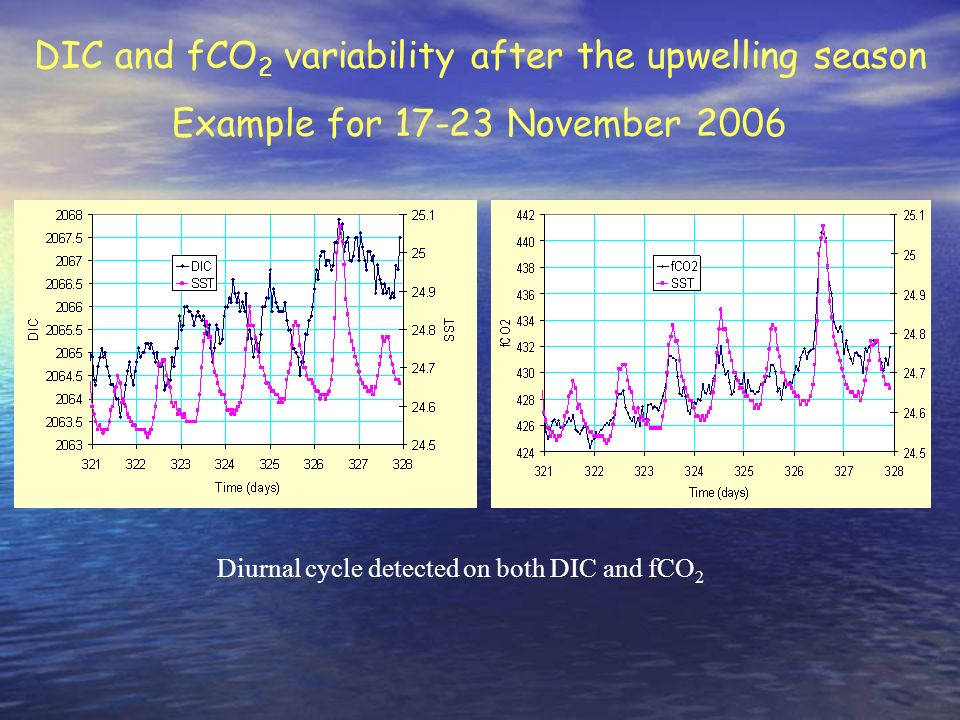 Diurnal cycle detected on both DIC and fCO2
