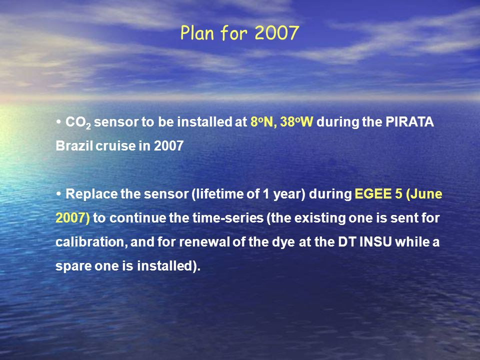 Plan for 2007 CO2 sensor to be installed at 8oN, 38oW during the PIRATA Brazil cruise in