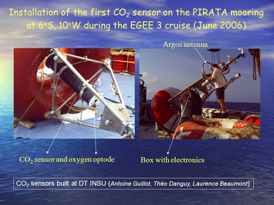 Installation of the first CO2 sensor on the PIRATA mooring at 6oS, 10oW during the EGEE 3 cruise (June 2006)