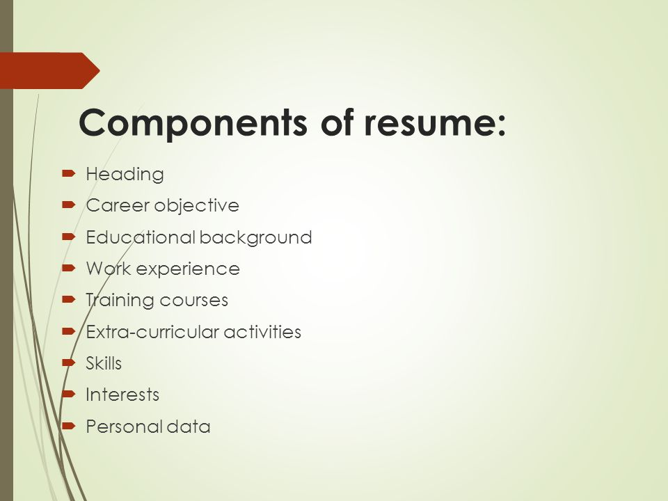 Components Of Resume