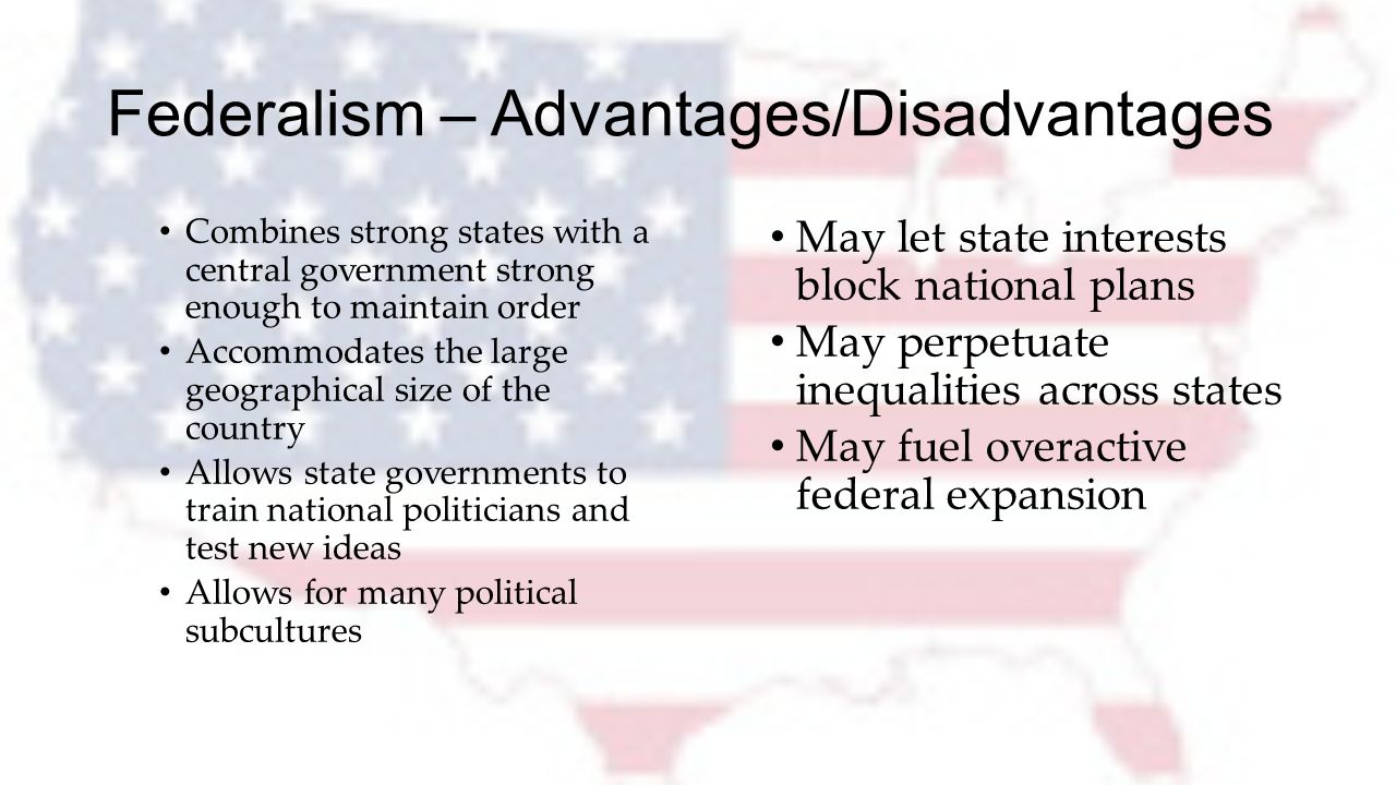 advantages and disadvantages of federal government