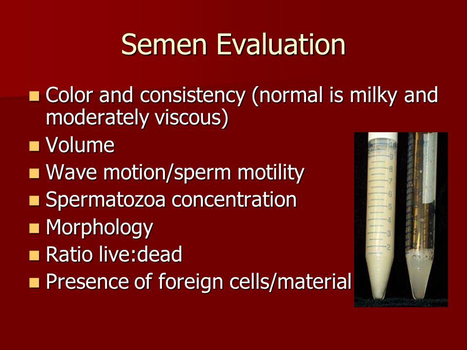 Explain sperm tests norm forms motility — 7