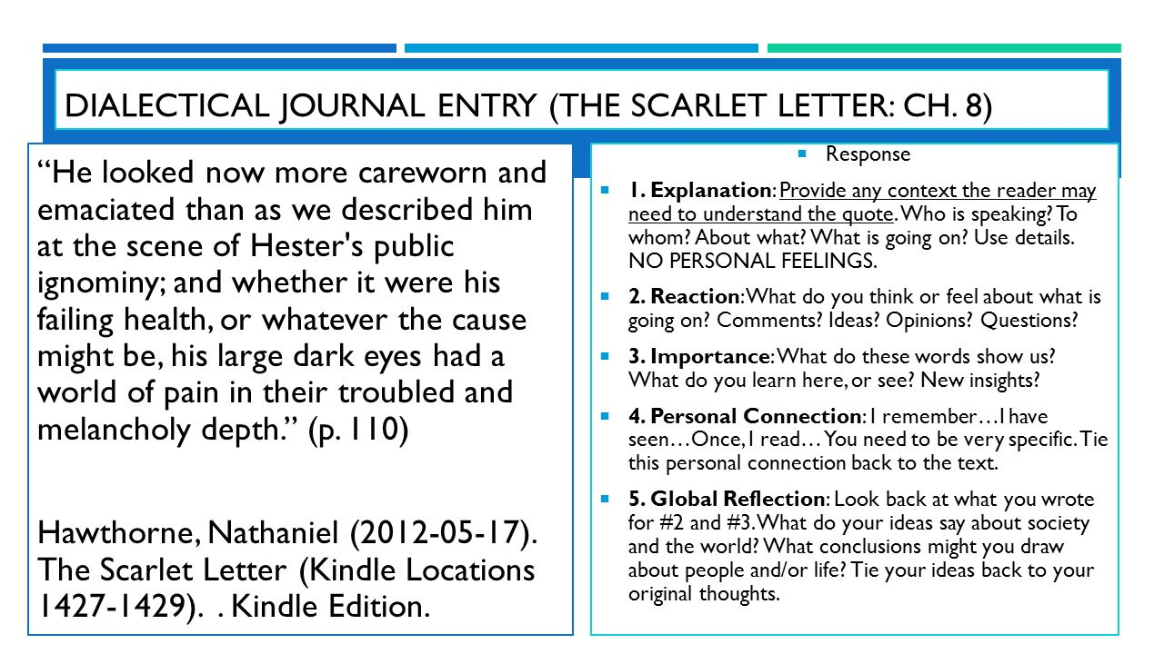 """scarlet letter dialectical journals Meaning of """"a"""" #2: alone and alienation the scarlet letter a also stands for hester's lonely life in new england after she is released, hester lives in a."""