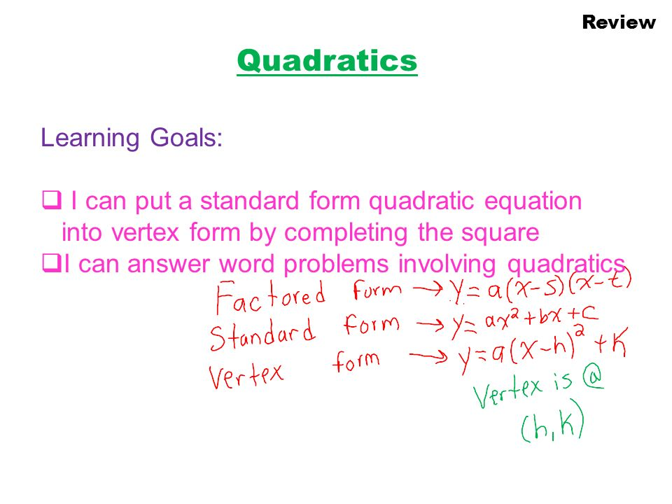 Quadratics Learning Goals Ppt Download. Quadratics Learning Goals. Worksheet. Worksheets On Word Problems Involving Quadratic Equations At Clickcart.co