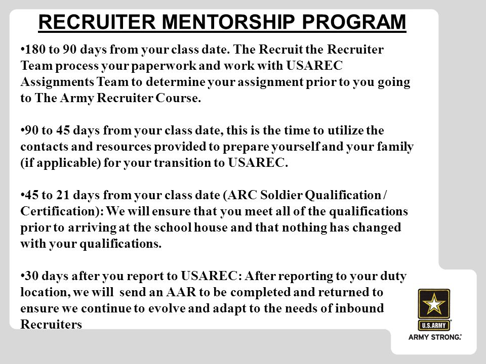 recruitment and army essay Army recruiters must be knowledgeable in army opportunities and the enlistment process before they are assigned to a recruiting station the recruiting and retention school, located at fort jackson, sc, provides soldiers the institutional training necessary to become successful recruiters.