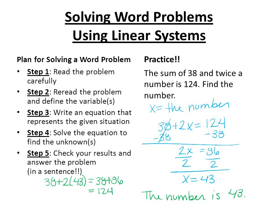 solving linear equations word problems