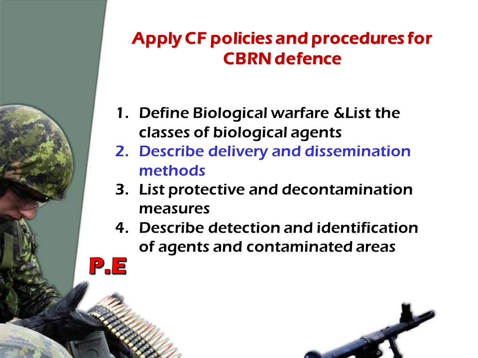 Apply CF policies and procedures for CBRN defence - ppt download